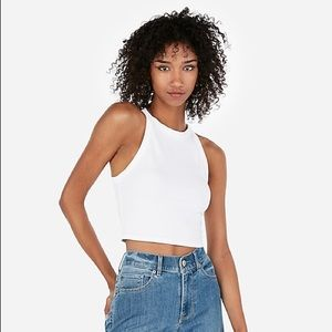 NWT Express White High Neck Crop Top